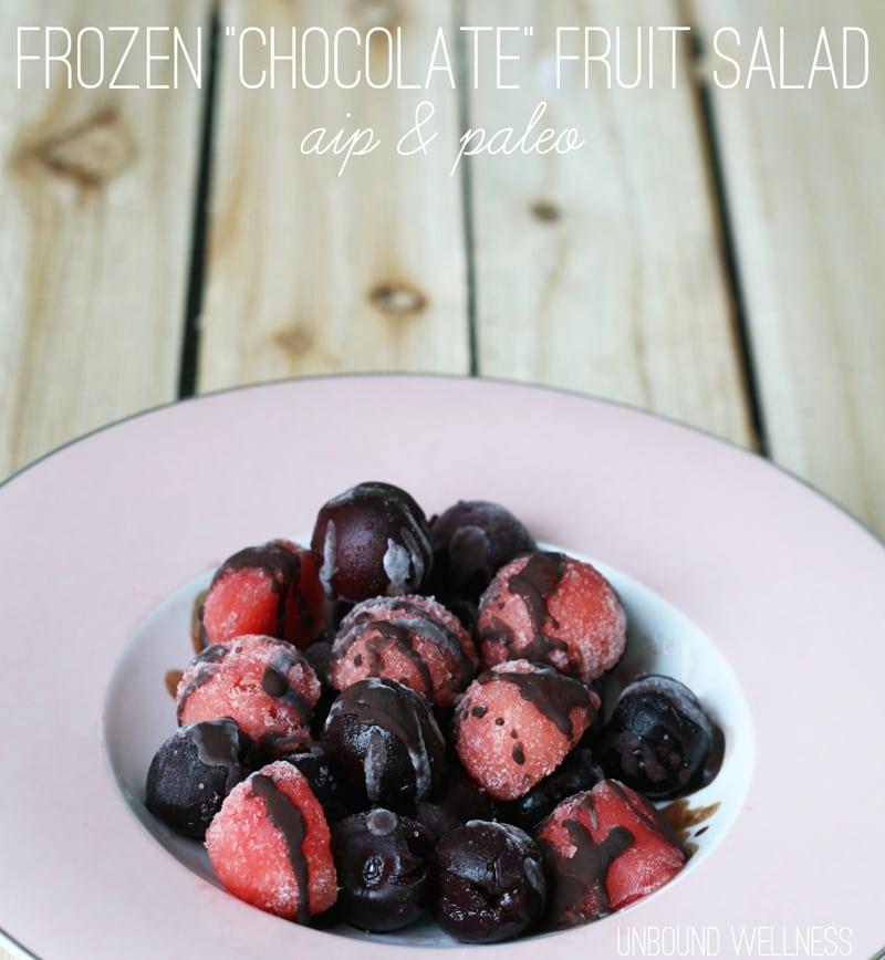Frozen Chocolate Fruit Salad (AIP, Paleo)