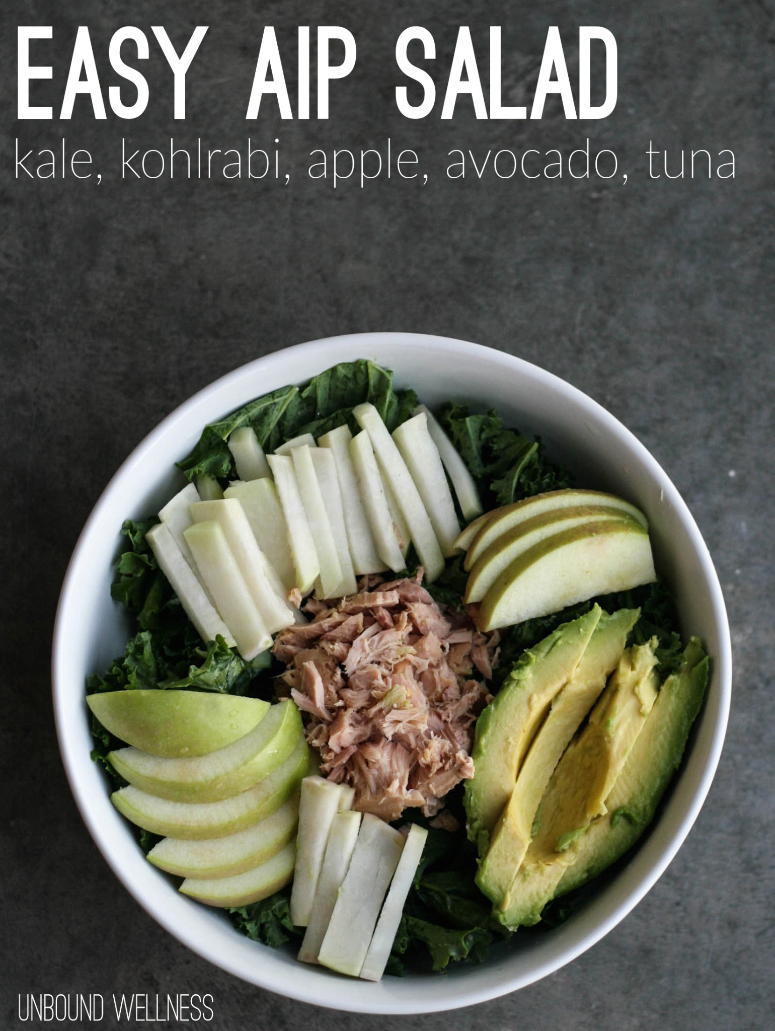 Easy Autoimmune Paleo Salad | Kale, Kohlrabi, Avocado, Apple and Tuna