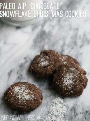 "Paleo AIP ""Chocolate"" Snowflake Christmas Cookies"