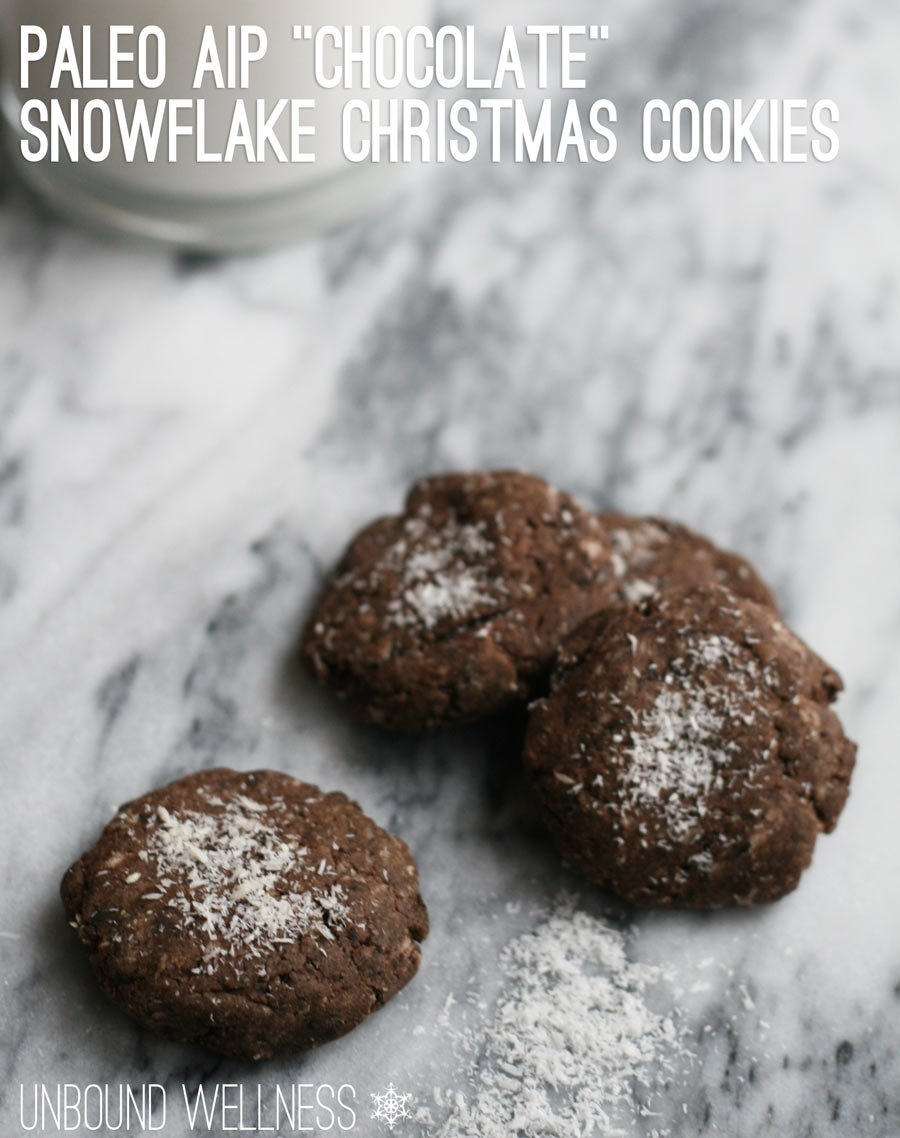 "Paleo AIP ""Chocolate"" Snowflake Christmas Cookies"