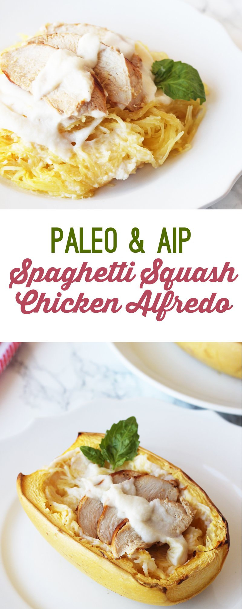 AIP Paleo Spaghetti Squash Chicken Alfredo (Dairy Free)