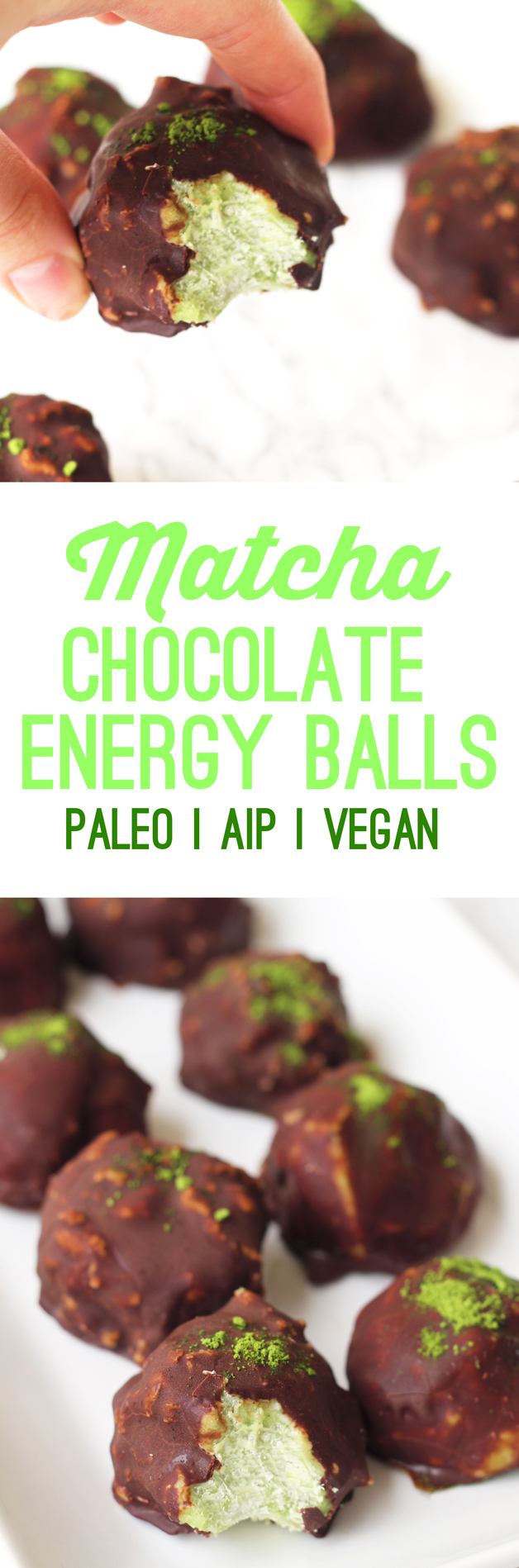 Chocolate Matcha Energy Balls (Paleo, AIP, Vegan)
