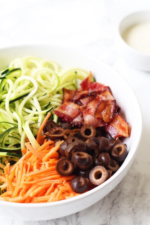 Bacon Ranch Zucchini Noodle Pasta Salad (Paleo, AIP, Whole 30)