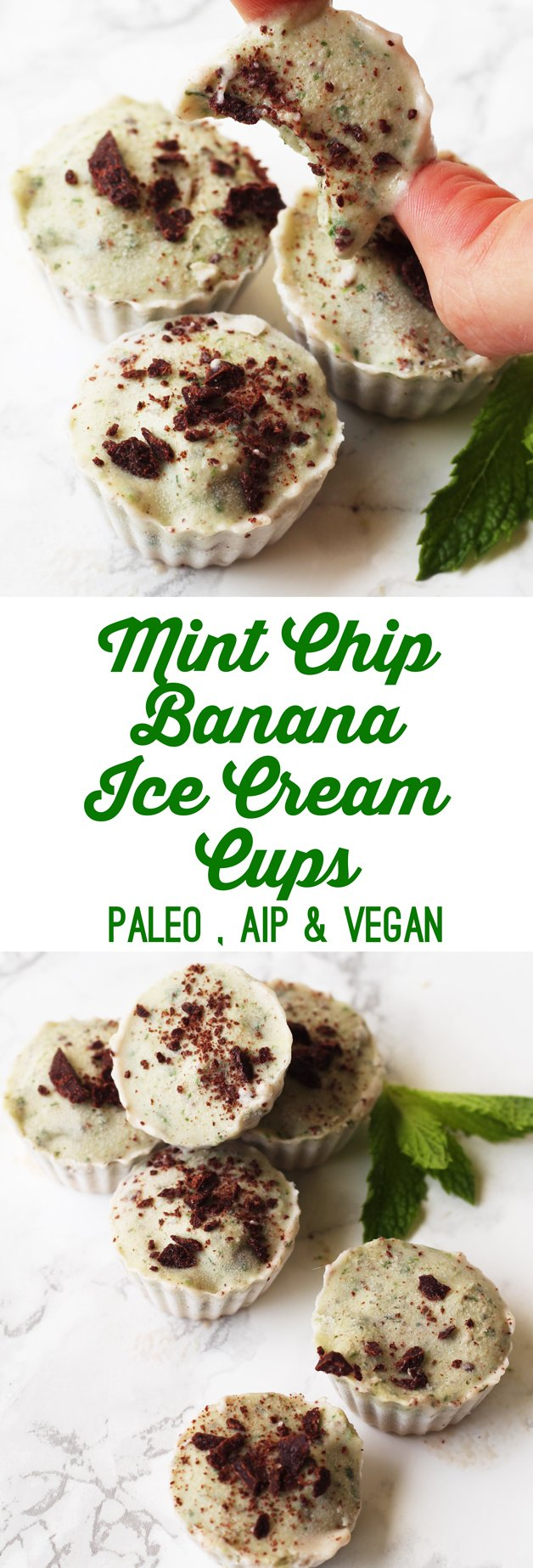 Mint Chip Banana Ice Cream Cups (Paleo, AIP, Vegan)
