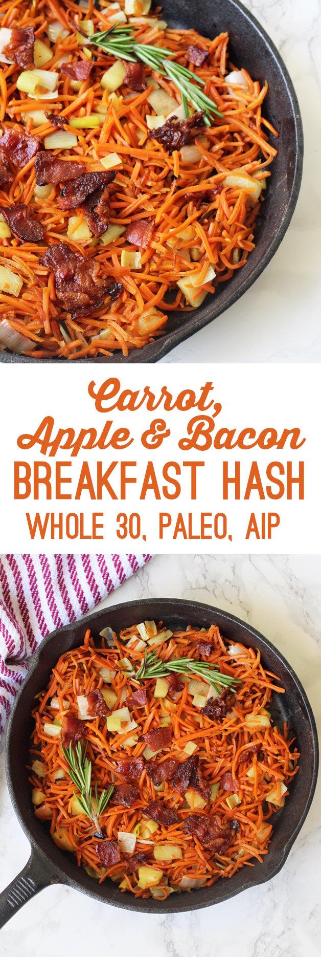 Carrot Apple Bacon Breakfast Hash (Whole 30, Paleo, AIP)