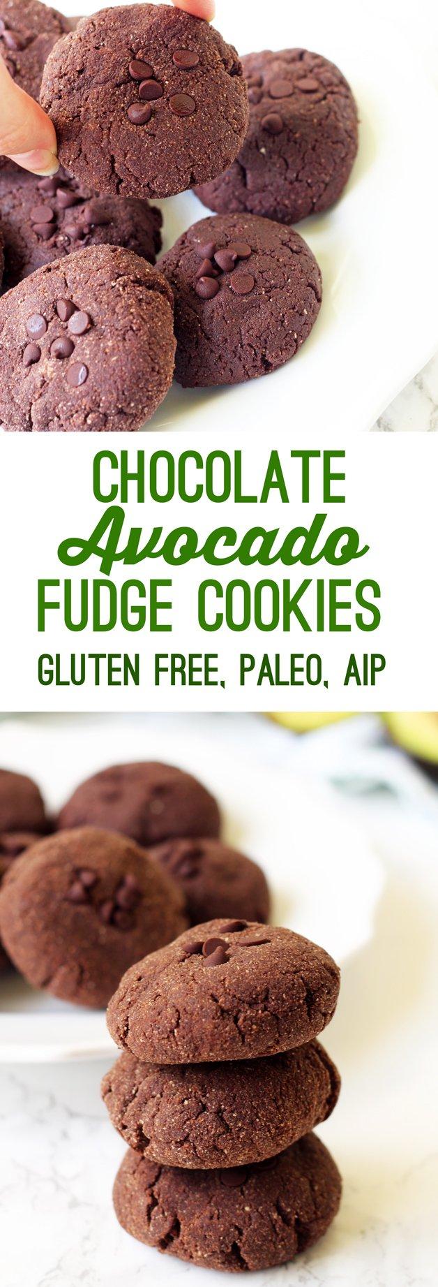 Avocado Chocolate Fudge Cookies (paleo, AIP)