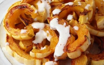 Roasted Delicata Squash With Garlic Cream Sauce (Paleo, AIP, Whole 30)