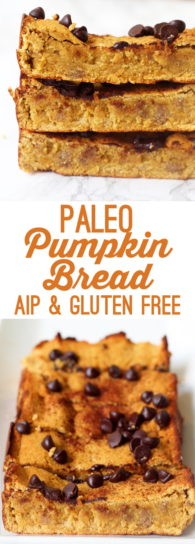 Paleo Chocolate Chip Pumpkin Bread (AIP, Gluten Free)