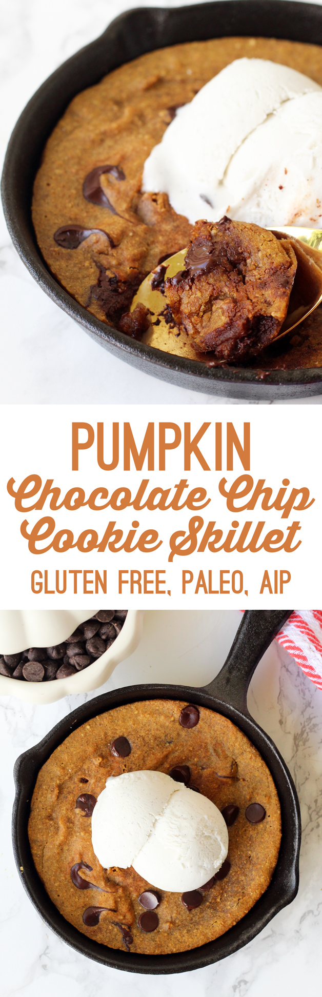Paleo Pumpkin Chocolate Chip Cookie Skillet (AIP, Gluten Free)