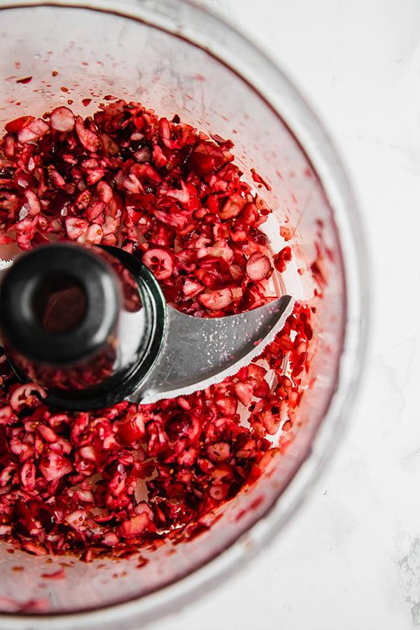 Cranberries in food processor