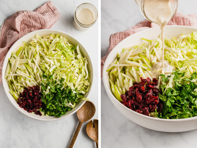 thanksgiving coleslaw in bowl with 2 spoons and dressing being poured in