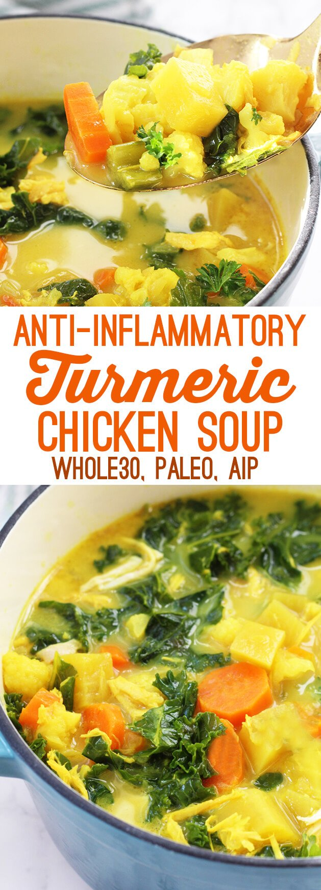 Anti inflammatory turmeric chicken soup paleo aip whole for How long to boil a whole chicken for soup
