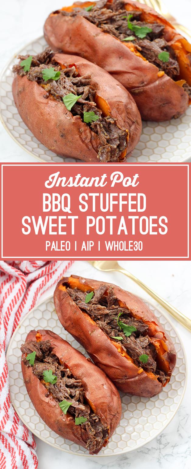 Instant Pot BBQ Stuffed Sweet Potatoes (Paleo, Whole30, AIP)