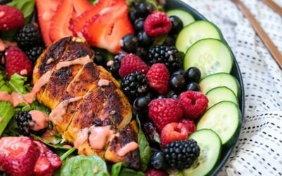 Blackened Chicken Avocado Berry Salad (Paleo, Whole30, AIP)
