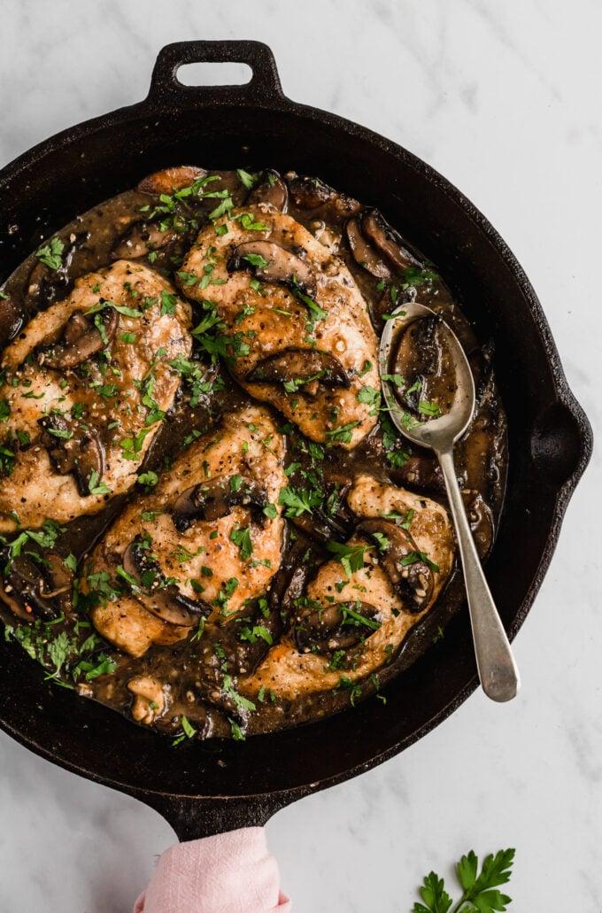 Chicken Marsala in Pan