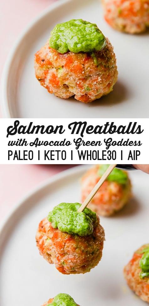 Salmon meatballs with avocado green goddess