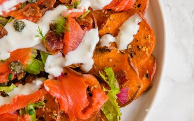 Everything Bagel & Lox Breakfast Nachos (Paleo, AIP option)