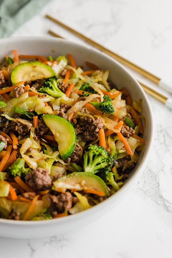 ground beef stir fry in bowl