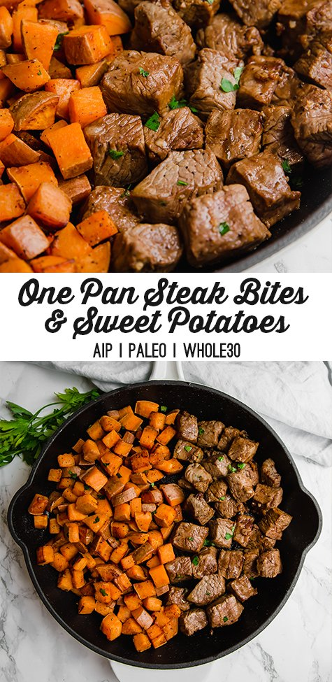 One Pan Steak Bites & Sweet Potato
