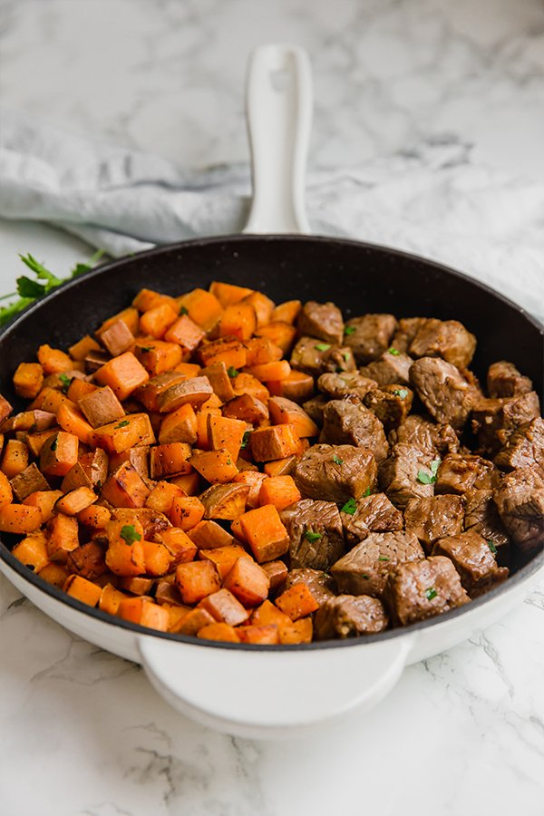 One Pan Steak Bites & Sweet Potato
