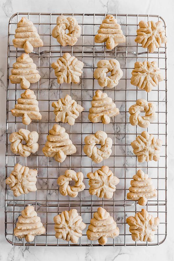Spritz Cookies on Cooling Rack