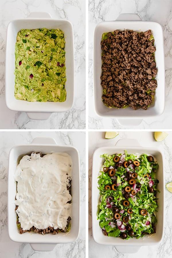Taco dip step by step
