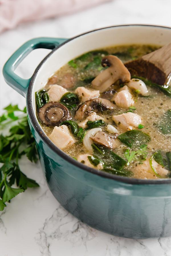 Chicken marsala soup in pot