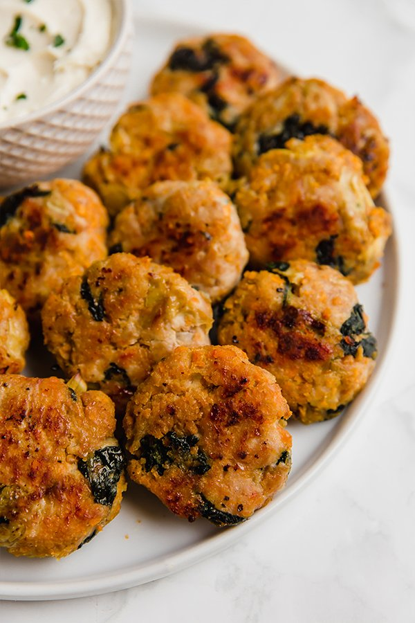 Spinach and artichoke chicken poppers
