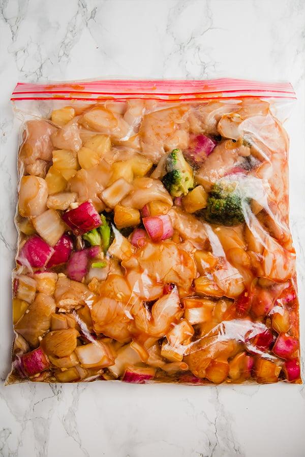 Hawaiian chicken in a freezer bag