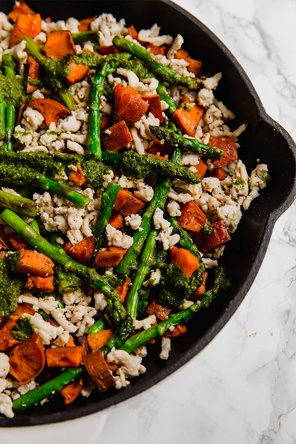 asparagus, turkey & sweet potato skillet