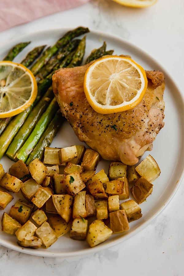 sheet pan lemon chicken & asparagus