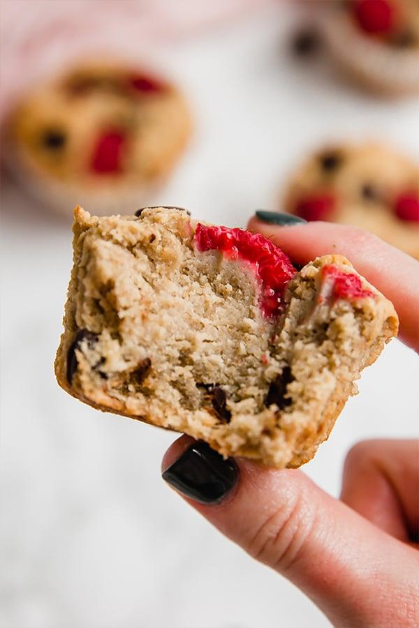 raspberry chocolate chip banana muffin inside