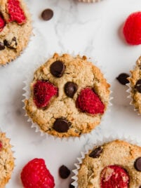 raspberry chocolate chip banana muffins