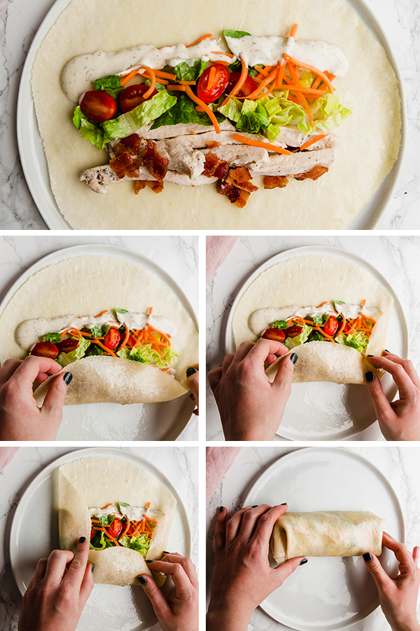 Step by step of rolling a wrap