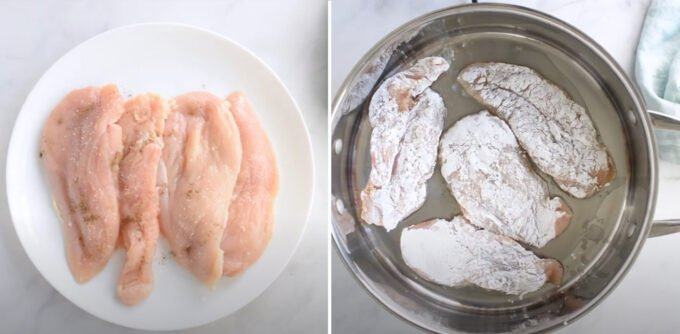 Chicken cutlets seasoned with salt and pepper, and chicken cutlets coated with arrowroot starch in a pan