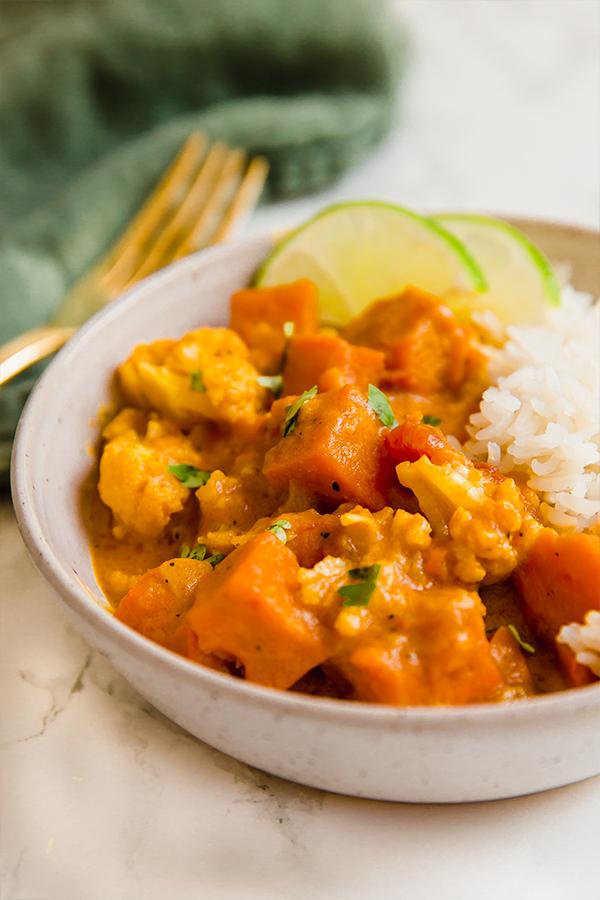 Sweet potato Cauliflower curry with rice
