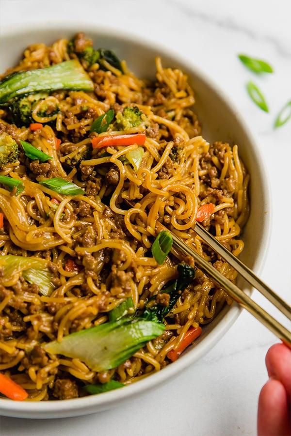 Ramen noodle stir fry with chopsticks