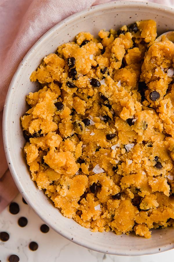 edible pumpkin chocolate chip cookie dough in bowl