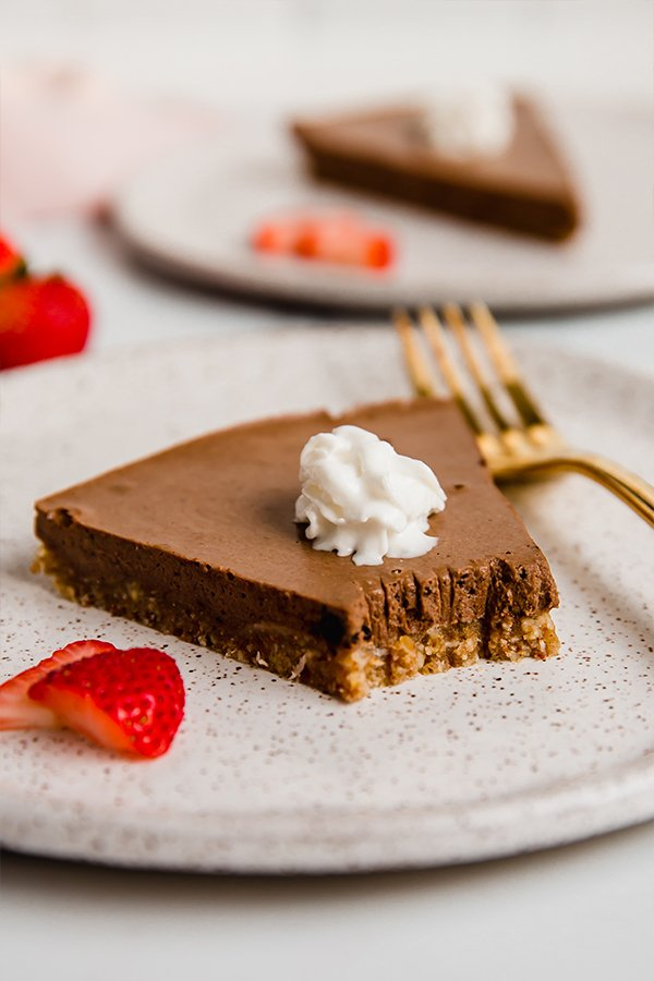 no-bake chocolate pie on plate with fork