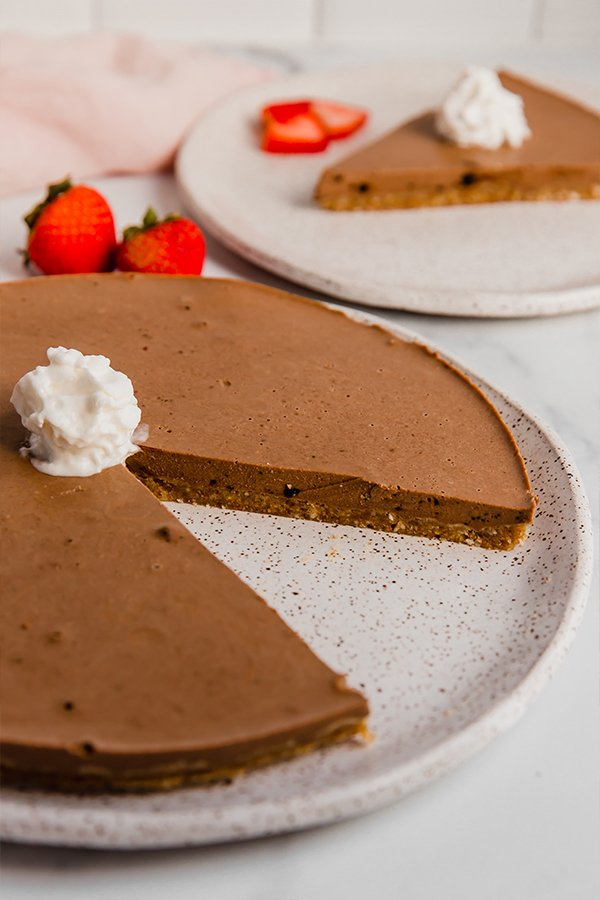 no-bake chocolate pie on plate