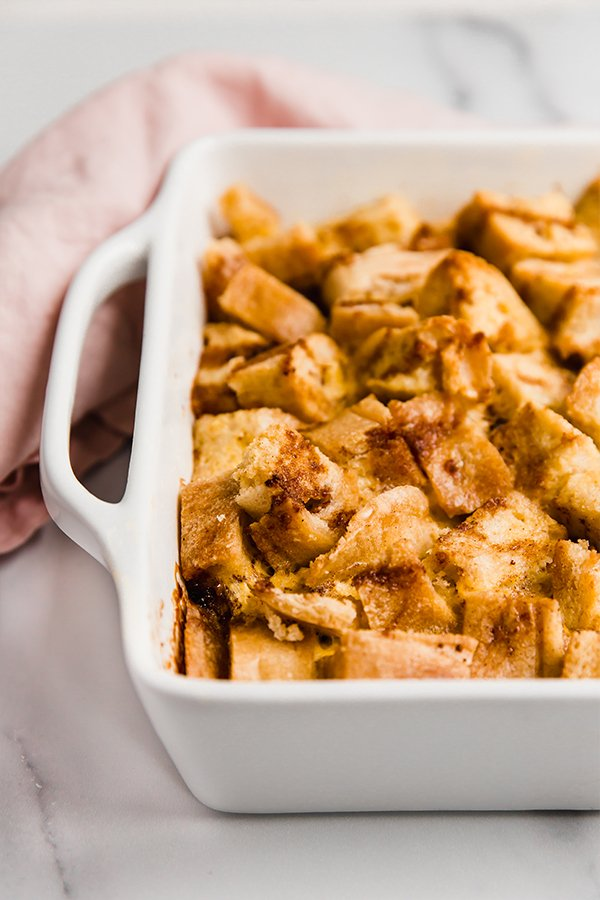 gluten free french toast casserole in a baking dish