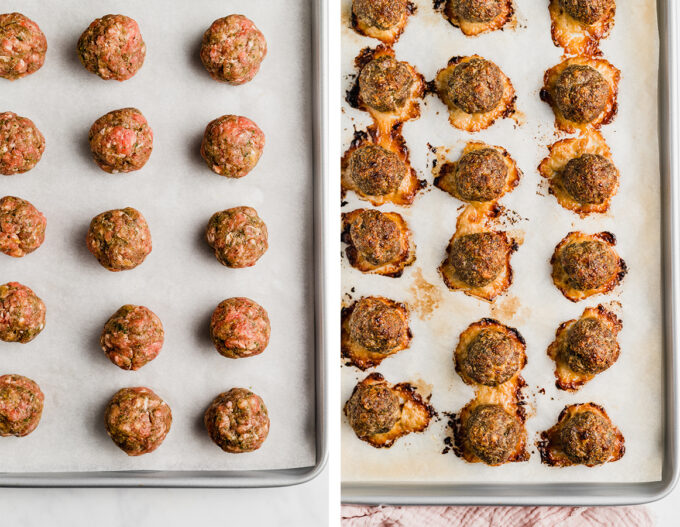 meatballs before and after baking