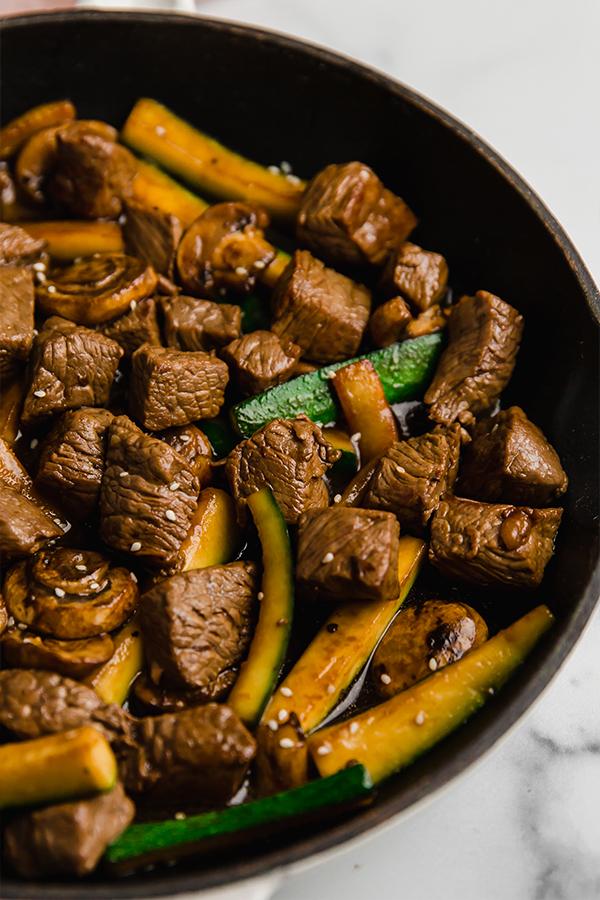 hibachi steak in a pan