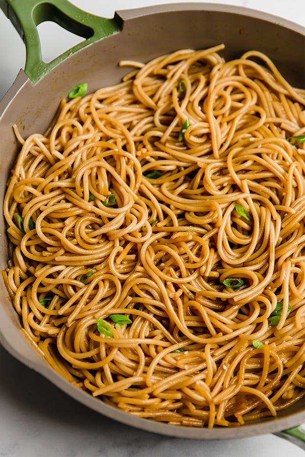 hibachi noodles in skillet