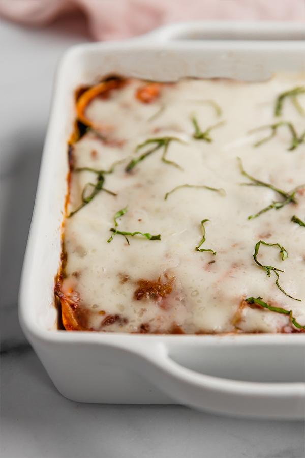 sweet potato lasagna in casserole dish