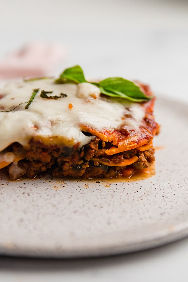 sweet potato lasagna slice on plate
