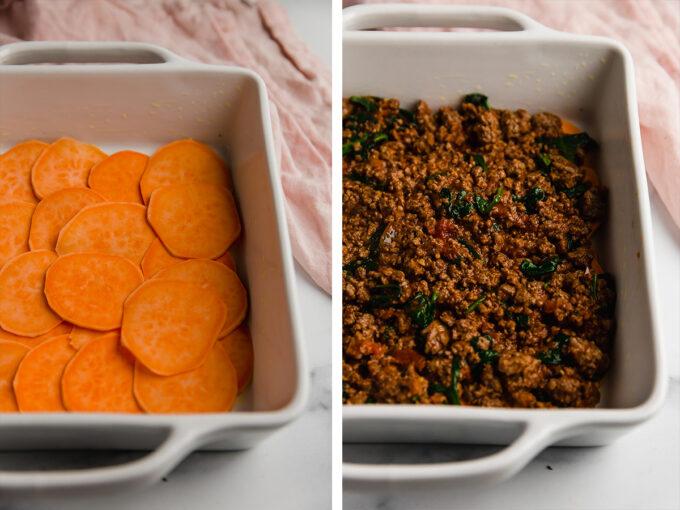 slices of sweet potato in casserole dish; ground beef mixture in casserole dish