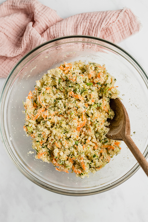 veggie nugget ingredients in bowl with wooden spoon