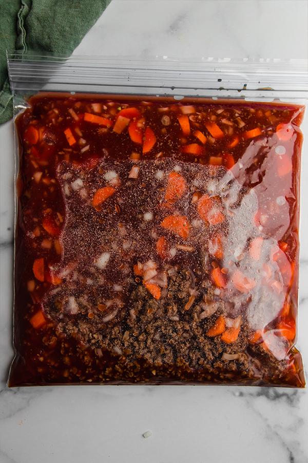 asian inspired chili in freezer bag