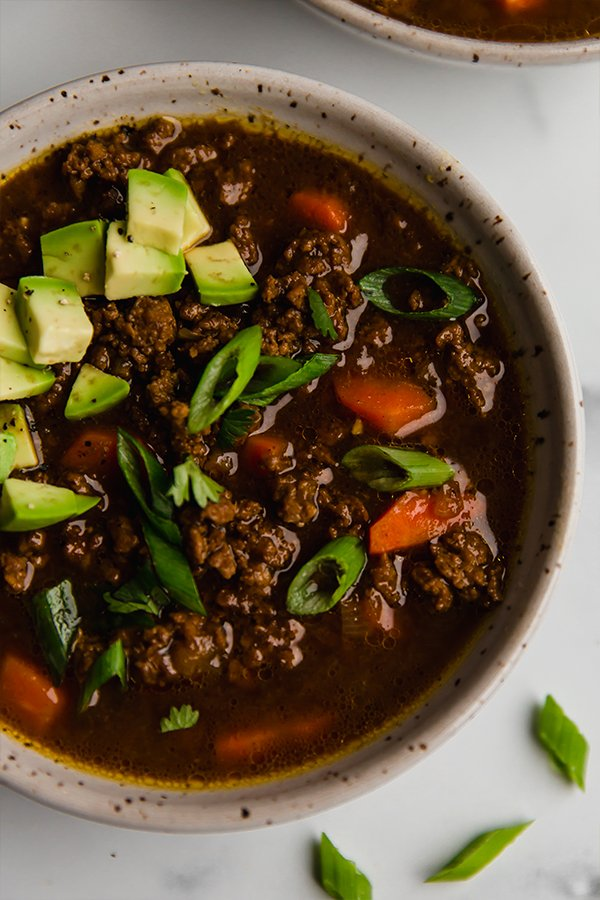 asian inspired chili in bowl